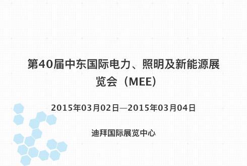第40届中东国际电力、照明及新能源展览会(MEE)
